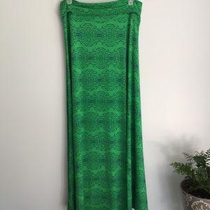 LuLaRoe Green Long Maxi Skirt